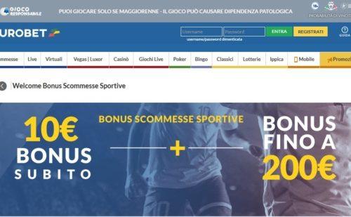 Tutti i bonus e promozioni del casinò Eurobet per nuovi iscritti Novembre 2020
